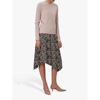 Winser London Asymmetric Jersey Leopard Print Skirt, Brown
