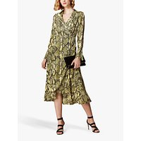 Karen Millen Snake Print Wrap Dress, Yellow/Multi