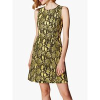 Karen Millen Snake Print Dress, Yellow/Multi
