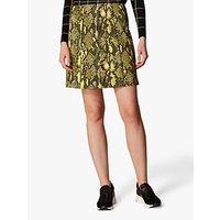 Karen Millen Snake Print Mini Skirt, Yellow/Multi