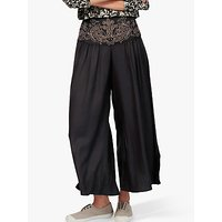 Brora Embroidered Wide Leg Trousers, Black