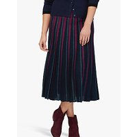 Brora Merino Wool Stripe Midi Skirt
