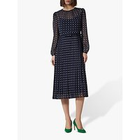 L.K.Bennett Avery Spot Sheer Midi Dress, Blue/White