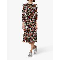 shop for L.K.Bennett Alissa Floral Ruffle Hem Midi Silk Dress, Multi at Shopo