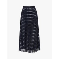 L.K.Bennett Avery Spot Print Pleated Midi Skirt, Navy/White