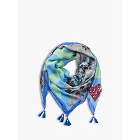 Betty Barclay Sequin Heart Floral Scarf, Blue/multi