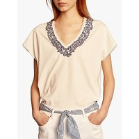 Gerard Darel Vinceta Cotton V-Neck T-Shirt, Ecru