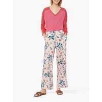 Gerard Darel Nessie Wide Leg Floral Trousers, Pink
