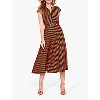 Damsel in a Dress Tilly Stripe Midi Flare Dress, Navy/Orange
