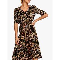 Gerard Darel Gloire Floral Flared Dress, Black/Multi