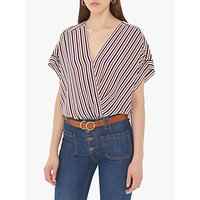 Gerard Darel Eugenie Stripe V Neck Silk Blouse, Ecru/Multi