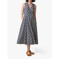 Toast Leaf Print Wrap Neckline Dress, Mulberry