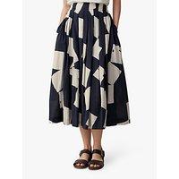 Toast Diamond Print Cotton Skirt, Off Black/Ecru