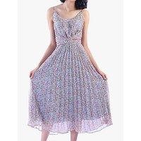 Jolie Moi Strappy Small Floral Print Pleated Dress, Aqua/Multi