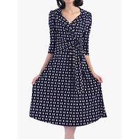 Jolie Moi Vintage Cross Front Tea Dress, Blue/Multi Geo