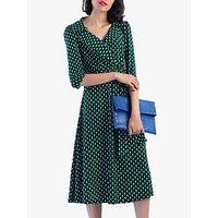 Jolie Moi Vintage Cross Front Tea Dress, Green Geo