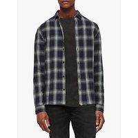 AllSaints Milford Long Sleeve Check Shirt, Black/Ecru White