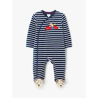 John Lewis & Partners Baby Velour Dog Stripe Sleepsuit, Blue