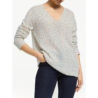 360 Sweater Sylvia Pure Cashmere Leopard Print Jumper, Mint Chalk