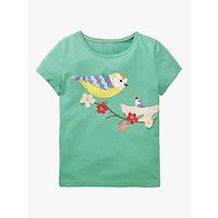Mini Boden Girls' Bird Applique T-Shirt, Green