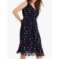 shop for Studio 8 Agnes Pleated Spot Dress, Navy at Shopo