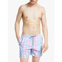Boardies Candy Stripe Swim Shorts, Pink/Blue