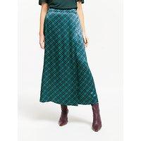 Finery Rose Check Satin Wrap Skirt, Green/Purple