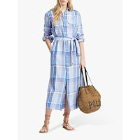 Polo Ralph Lauren Linen Check Midi Shirt Dress, Royal Blue/Ocean Blue