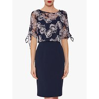 Gina Bacconi Arietta Embroidered Lace Overtop Dress, Spring Navy