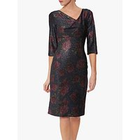 Gina Bacconi Abriella Metallic Jersey Dress, Navy/Pink