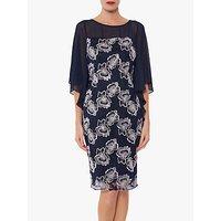 shop for Gina Bacconi Ariana Embroidered Chiffon Cape Dress, Spring Navy at Shopo