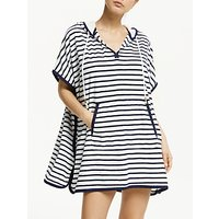 John Lewis & Partners Towelling Hooded Oversized Beach Cover Up, White/Navy