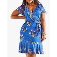 shop for Yumi Curves Slinky Floral Jersey V-Neck Dress, Blue at Shopo