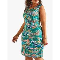shop for Yumi Curves Floral Print Jersey Dress, Green at Shopo