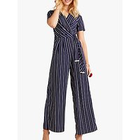 shop for Yumi Wrap Stripe Jumpsuit, Navy at Shopo