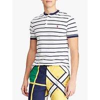 Polo Ralph Lauren Henley Stripe T-Shirt, White/Newport Navy