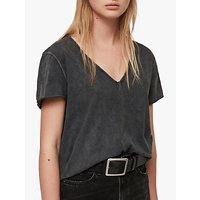 AllSaints Emelyn Budan Cotton T-Shirt, Acid Washed Black