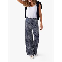 Pure Collection Wide Leg Abstract Print Trousers, Navy Geo