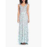 Adrianna Papell Beaded V-Neck Dress, White Jade