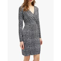 Image of French Connection Leopard Frill Neck Dress, Grey/Leopard