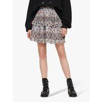 AllSaints Sanse Floral Sketch Mini Skirt, Violet/Multi
