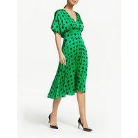 Winser London Satin Wrap Over Dress, Emerald/Black