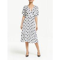 Winser London Satin Spot Print Wrap Dress, Ivory/Midnight Navy