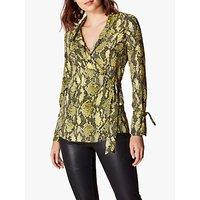 Karen Millen Snake Print V-Neck Top, Yellow/Multi