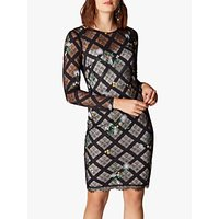 Karen Millen Check Lace Pencil Dress, Black/Multi