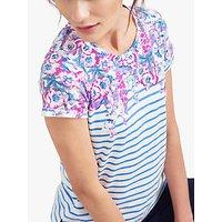 Joules Nessa Floral Stripe Jersey T-Shirt, Blue