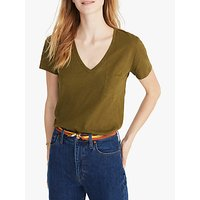 Madewell Whisper Cotton V-Neck Pocket T-Shirt, Deep Woodland