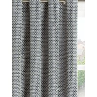 Croft Collection Rona Pair Lined Eyelet Curtains, Loch Blue