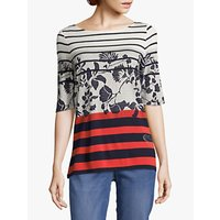 Betty Barclay Striped Floral Top, Dark Blue/Red