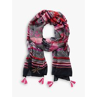 Betty Barclay Floral Print Scarf, Black/pink